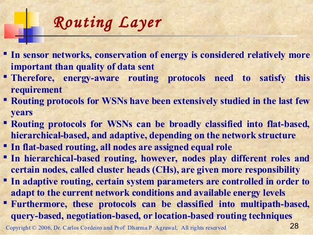 Copyright © 2006, Dr. Carlos Cordeiro and Prof Dharma P Agrawal, All rights reserved 28 Routing Layer  In sensor networks...