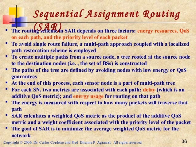 Copyright © 2006, Dr. Carlos Cordeiro and Prof Dharma P Agrawal, All rights reserved 36 Sequential Assignment Routing (SAR...