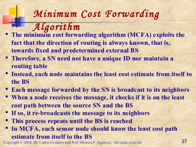 Copyright © 2006, Dr. Carlos Cordeiro and Prof Dharma P Agrawal, All rights reserved 37 Minimum Cost Forwarding Algorithm ...