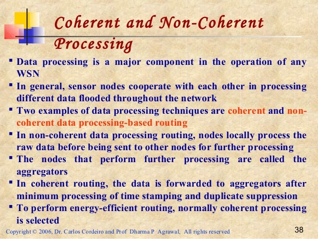 Copyright © 2006, Dr. Carlos Cordeiro and Prof Dharma P Agrawal, All rights reserved 38 Coherent and Non-Coherent Processi...