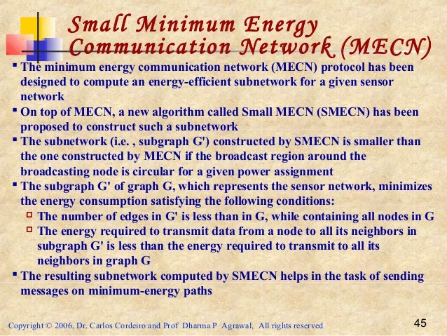 Copyright © 2006, Dr. Carlos Cordeiro and Prof Dharma P Agrawal, All rights reserved 45 Small Minimum Energy Communication...