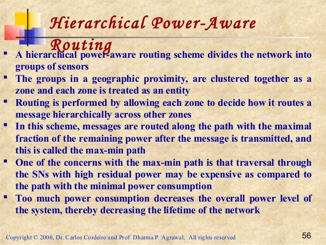Copyright © 2006, Dr. Carlos Cordeiro and Prof Dharma P Agrawal, All rights reserved 56 Hierarchical Power-Aware Routing ...