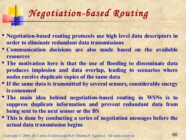 Copyright © 2006, Dr. Carlos Cordeiro and Prof Dharma P Agrawal, All rights reserved 60 Negotiation-based Routing  Negoti...