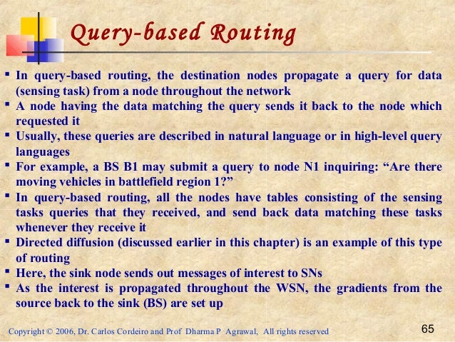 Copyright © 2006, Dr. Carlos Cordeiro and Prof Dharma P Agrawal, All rights reserved 65 Query-based Routing  In query-bas...