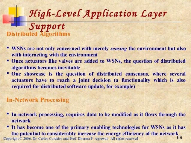 Copyright © 2006, Dr. Carlos Cordeiro and Prof Dharma P Agrawal, All rights reserved 69 High-Level Application Layer Suppo...