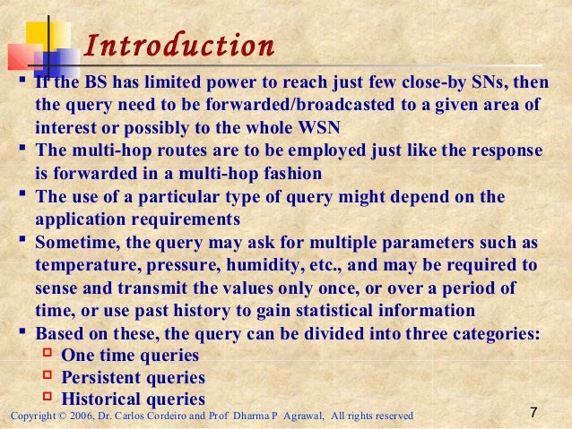 Copyright © 2006, Dr. Carlos Cordeiro and Prof Dharma P Agrawal, All rights reserved 7 Introduction  If the BS has limite...
