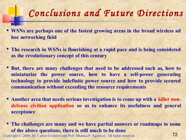 Copyright © 2006, Dr. Carlos Cordeiro and Prof Dharma P Agrawal, All rights reserved 72 Conclusions and Future Directions ...