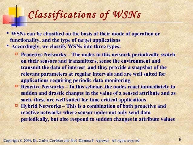 Copyright © 2006, Dr. Carlos Cordeiro and Prof Dharma P Agrawal, All rights reserved 8 Classifications of WSNs  WSNs can ...