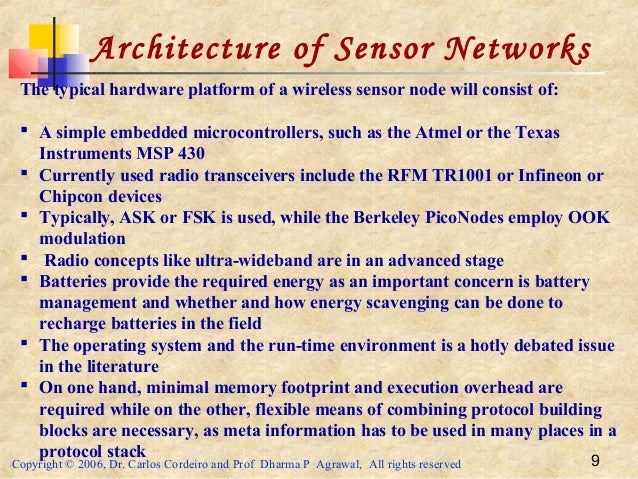 Copyright © 2006, Dr. Carlos Cordeiro and Prof Dharma P Agrawal, All rights reserved 9 Architecture of Sensor Networks The...
