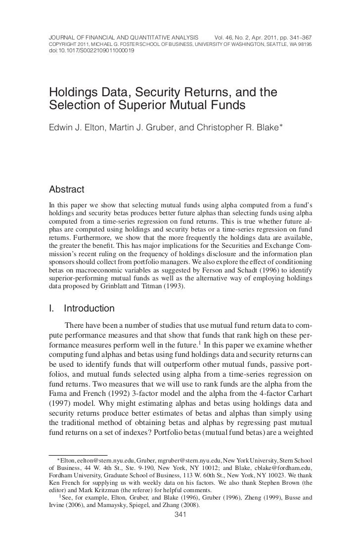 JOURNAL OF FINANCIAL AND QUANTITATIVE ANALYSIS               Vol. 46, No. 2, Apr. 2011, pp. 341–367COPYRIGHT 2011, MICHAEL...