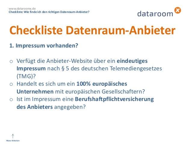 dataroomX: Wie finde ich den richtigen Datenraum-Anbieter? Slide 2