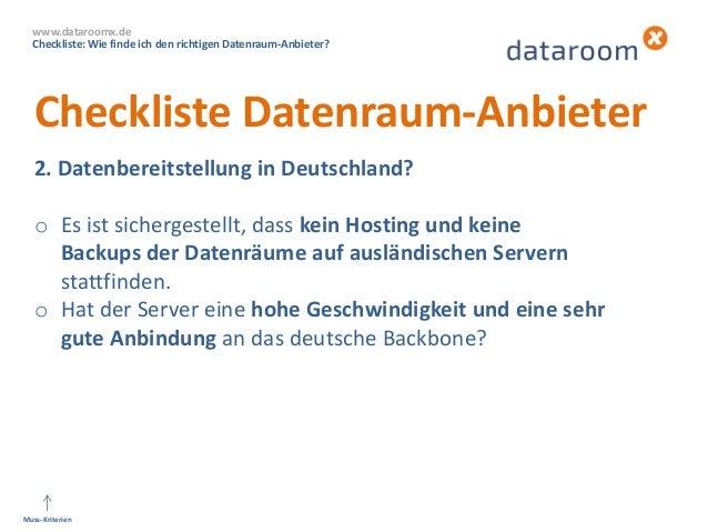 dataroomX: Wie finde ich den richtigen Datenraum-Anbieter? Slide 3
