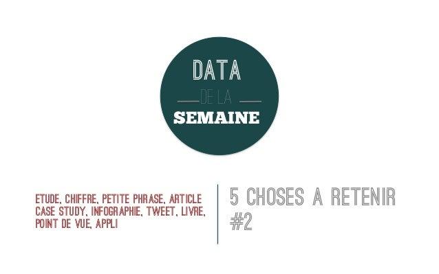 DATA DE LA SEMAINE  ETUDE, CHIFFRE, PETITE PHRASE, article CASE STUDY, infographie, tweet, livre, point de vue, appli  5 C...