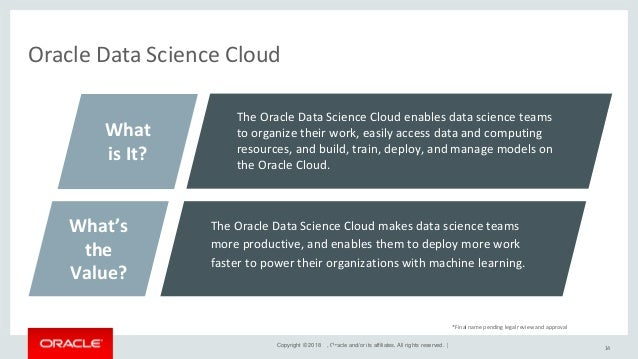 Copyright © 2018 , Oracle and/or its affiliates. All rights reserved. | Oracle Data Science Cloud Workflow 15 Reproducibil...