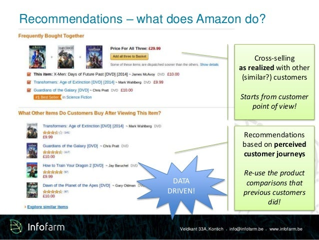 Recommendations – what does Amazon do?  Cross-selling  as realized with other  (similar?) customers  Starts from customer ...