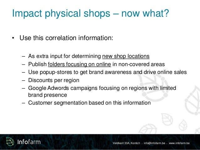 Impact physical shops – now what?  • Use this correlation information:  – As extra input for determining new shop location...