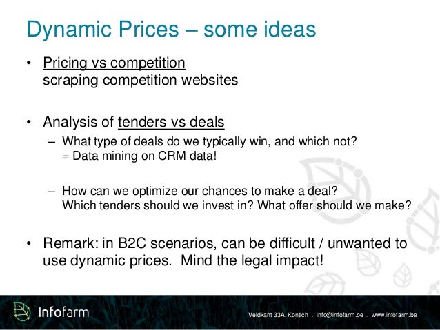 Dynamic Prices – some ideas  Veldkant 33A, Kontich ● info@infofarm.be ● www.infofarm.be  • Pricing vs competition  scrapin...