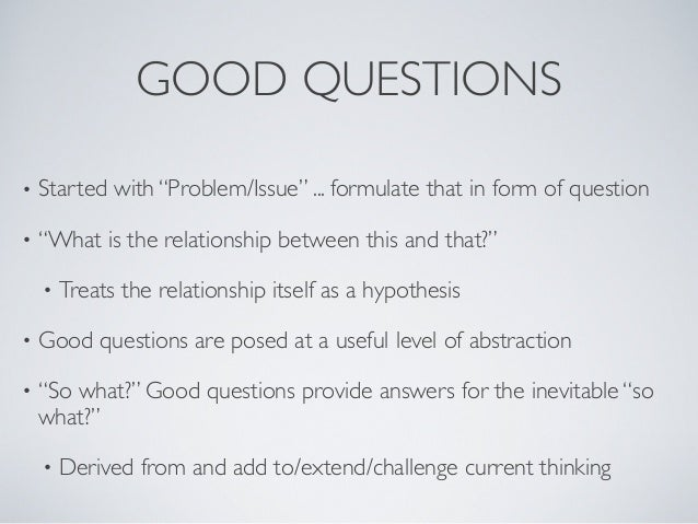 data science and good questions eric kostello