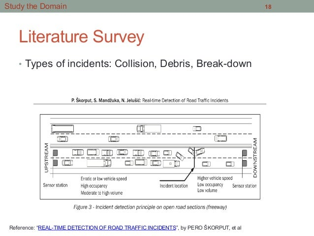 """Literature Survey • Types of incidents: Collision, Debris, Break-down 18Study the Domain Reference: """"REAL-TIME DETECTION ..."""