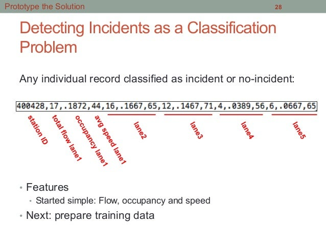 Detecting Incidents as a Classification Problem • Features • Started simple: Flow, occupancy and speed • Next: prepare ...