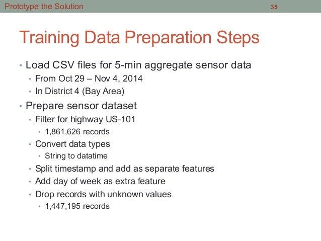 Training Data Preparation Steps • Load CSV files for 5-min aggregate sensor data • From Oct 29 – Nov 4, 2014 • In Distr...