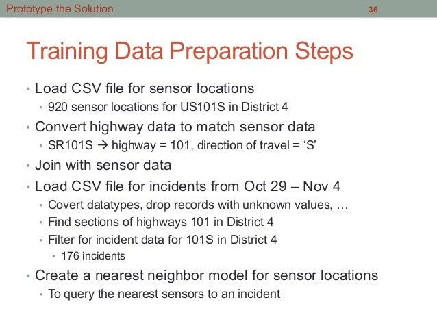 Training Data Preparation Steps • Load CSV file for sensor locations • 920 sensor locations for US101S in District 4 • ...