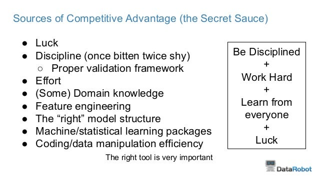 Sources of Competitive Advantage (the Secret Sauce) ● Luck ● Discipline (once bitten twice shy) ○ Proper validation framew...