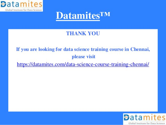 Datamites™ THANK YOU If you are looking for data science training course in Chennai, please visit https://datamites.com/da...