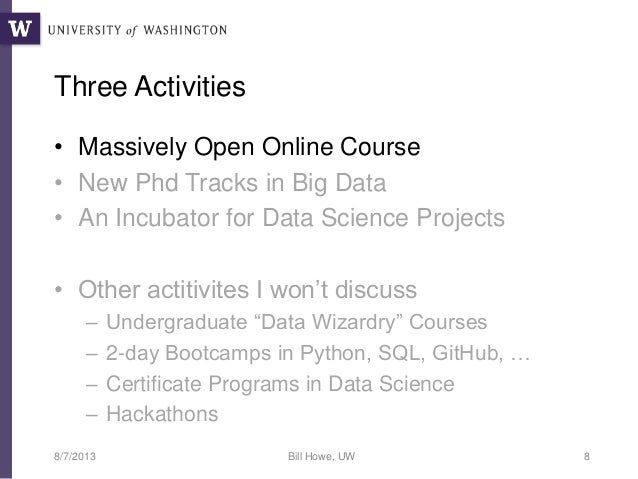 Big Data Curricula At The Uw Escience Institute Jsm 2013