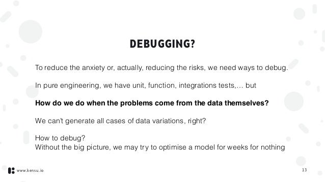 www.kensu.io DEBUGGING? To reduce the anxiety or, actually, reducing the risks, we need ways to debug. In pure engineering...
