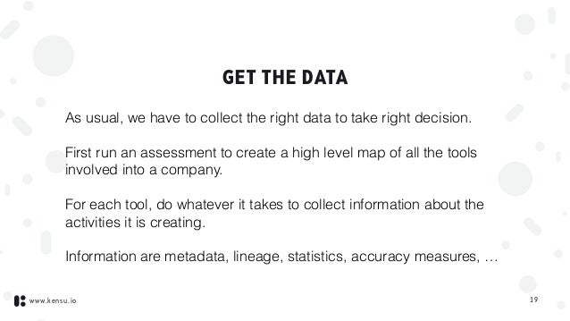 www.kensu.io GET THE DATA As usual, we have to collect the right data to take right decision. First run an assessment to c...