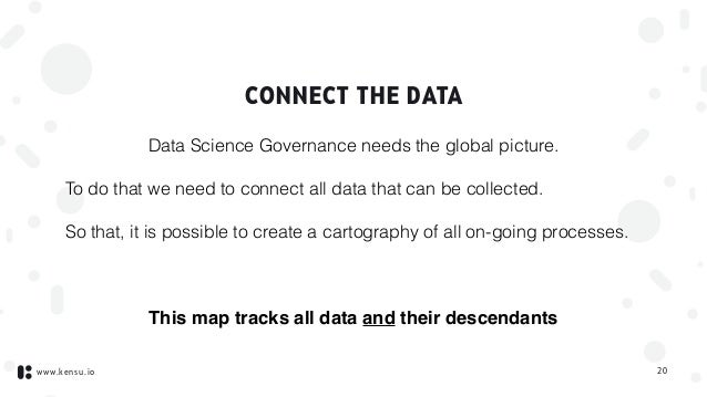 www.kensu.io CONNECT THE DATA Data Science Governance needs the global picture. To do that we need to connect all data tha...