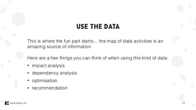 www.kensu.io USE THE DATA This is where the fun part starts… the map of data activities is an amazing source of informatio...