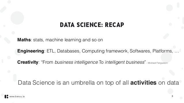 www.kensu.io DATA SCIENCE: RECAP Maths: stats, machine learning and so on Engineering: ETL, Databases, Computing framework...