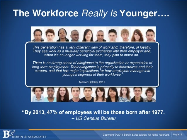"""Copyright © 2011 Bersin & Associates. All rights reserved. Page 18 The Workforce Really Is Younger…. """"By 2013, 47% of empl..."""