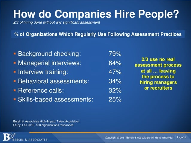 Copyright © 2011 Bersin & Associates. All rights reserved. Page 34 How do Companies Hire People? 2/3 of hiring done withou...