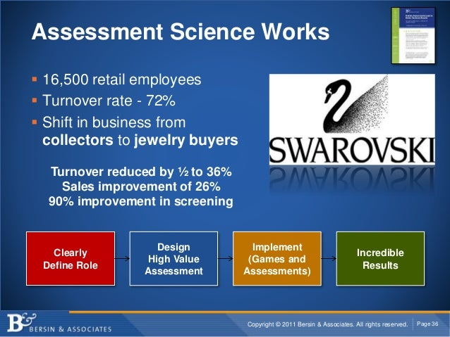 Copyright © 2011 Bersin & Associates. All rights reserved. Page 36 Assessment Science Works  16,500 retail employees  Tu...
