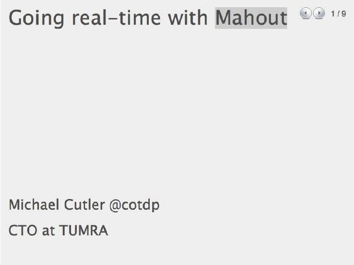 Going Real-Time with Mahout, Predicting gender of Facebook Users