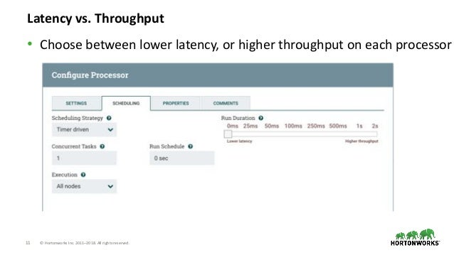 11 © Hortonworks Inc. 2011–2018. All rights reserved. Latency vs. Throughput • Choose between lower latency, or higher thr...