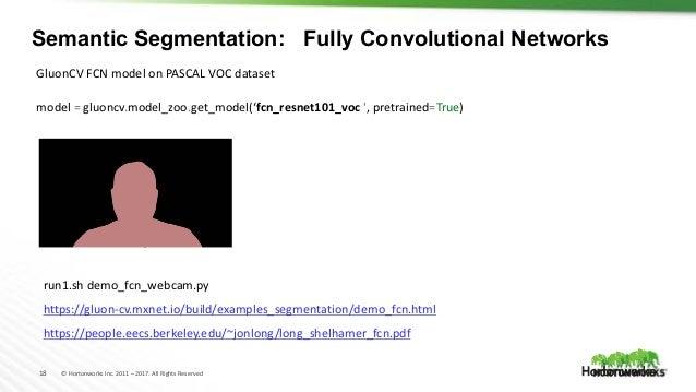 18 © Hortonworks Inc. 2011 – 2017. All Rights Reserved Semantic Segmentation: Fully Convolutional Networks model = gluoncv...