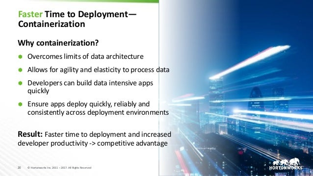 20 © Hortonworks Inc. 2011 – 2017. All Rights Reserved Faster Time to Deployment— Containerization Why containerization? Ã...