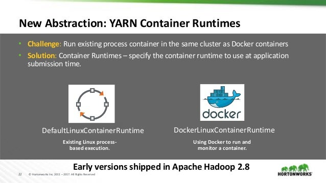 22 © Hortonworks Inc. 2011 – 2017. All Rights Reserved New Abstraction: YARN Container Runtimes • Challenge: Run existing ...