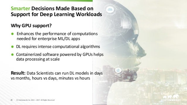 26 © Hortonworks Inc. 2011 – 2017. All Rights Reserved Smarter Decisions Made Based on Support for Deep Learning Workloads...