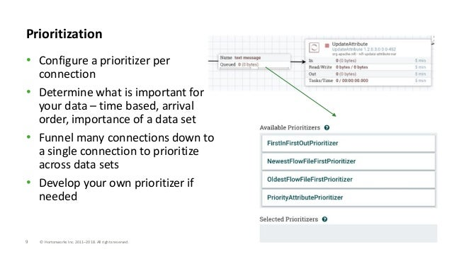 9 © Hortonworks Inc. 2011–2018. All rights reserved. Prioritization • Configure a prioritizer per connection • Determine w...
