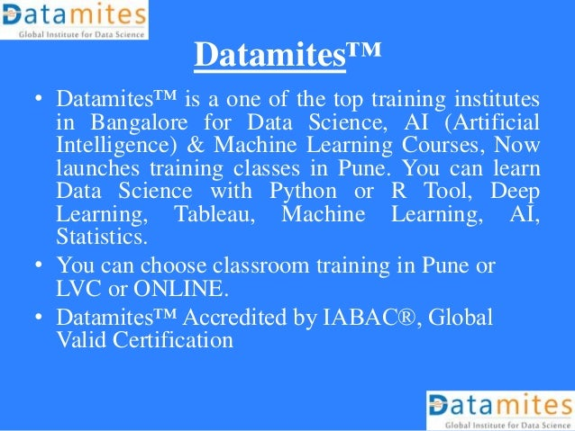 Data Scientist Training Classes in Pune for August 2018