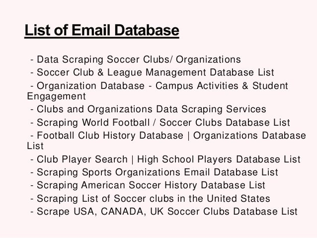Data Scraping Soccer Clubs/ Organizations