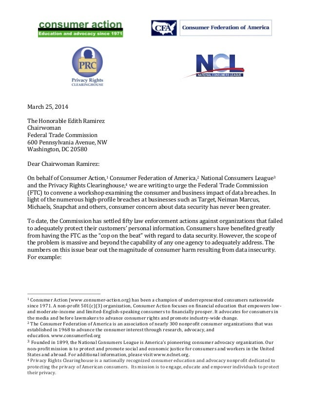 NATIONAL CONSUMERS LEAGUE    March  25,  2014      The  Honorable  Edith  Ramir...