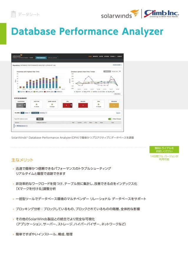 [データシート] Database Performance Analyzer (DPA)