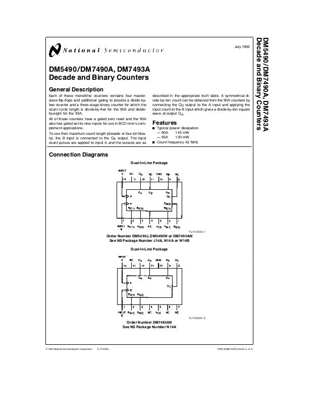 TL F 6533 DM5490DM7490ADM7493A DecadeandBinaryCounters July 1992 DM5490 DM7490A DM7493A Decade and Binary Counters General...