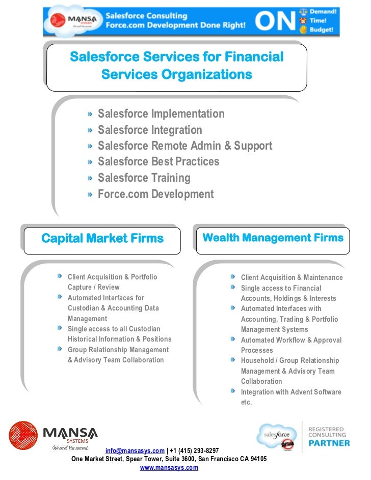 Salesforce Services for Financial        Services Organizations             Salesforce Implementation             Salesfor...